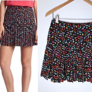 Hinge Pleated Mini Skirt 2 Circle Abstract Printed